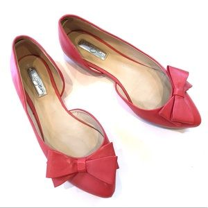 Halogen Pointy Tie Bow Tie Leather Flats